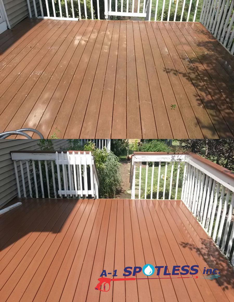 Power washing a deck -  Clean Wood And Composite Decks Prepare Them For Staining And Preserve Their Appearance And Integrity We Are Reliable We Have Professional Equipment