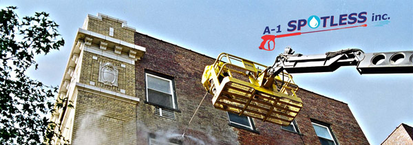Exterior Building Brick Cleaning - A-1 Spotless Inc.